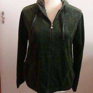Cappagallo Petite Green Velvet Hoodie Jacket NWT